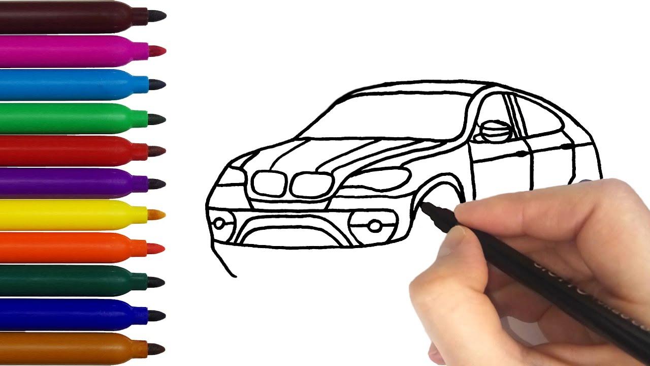 Как нарисовать МАШИНУ? ⚡ Раскраска машина BMW X6 🚔 Машина ...