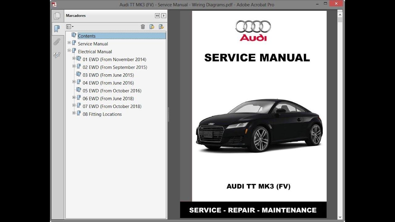 Audi Tt Mk3  Fv  - Service Manual    Repair Manual