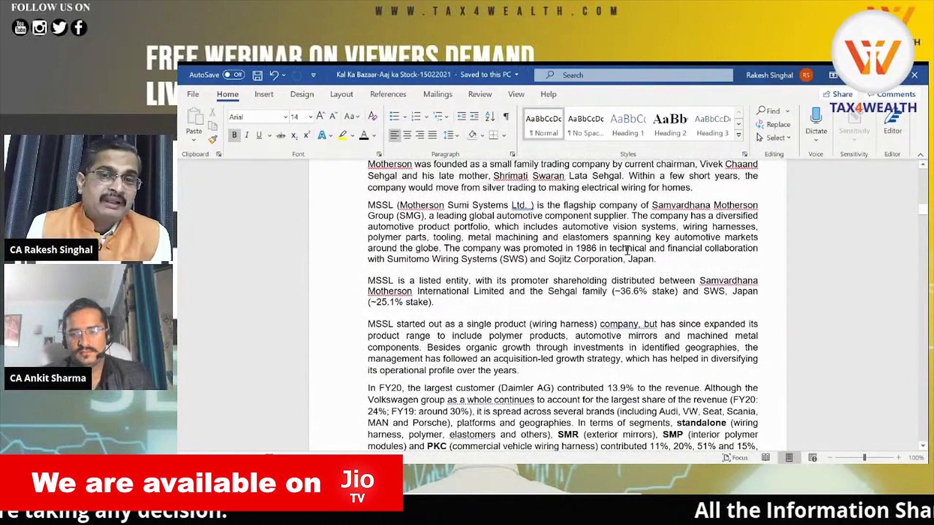 Motherson sumi Systems ke stock main kya karein with CA Rakesh Singhal